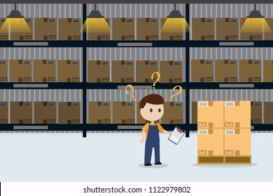 confused frustrated worker checking stock in warehouse inventory with copy space stock management control concept eps10 vector illustration
