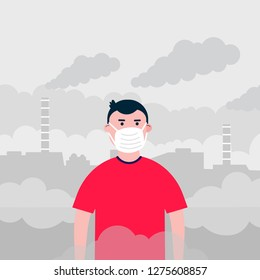 Confused kid boy in the mask against smog. Fine dust, air pollution, industrial smog protection concept flat style design vector illustration. Industrial plant pipes with huge clouds of smoke behind.