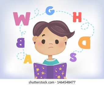 Confused kid with a cloud of scattered letters above his head and book. Dyslexia failing to read. Learning disability concept. Flat vector illustration. Isolated on white background.