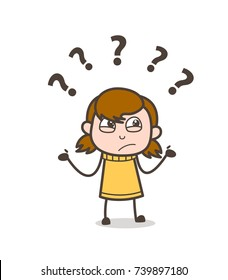 Confused Kid Face Expression - Cute Cartoon Girl Illustration