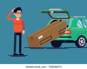 Confused man failed to load large box into car trunk. Vector flat character design on discouraged individual with oversized box that does not fit into his station wagon trunk