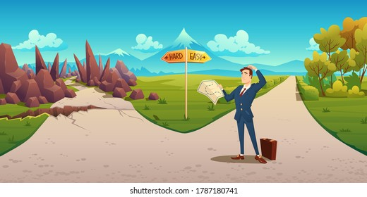 Confused man with map makes choice between hard and easy way. Vector cartoon landscape with businessman on road with direction sign, curvy path with rocks and simple straight road