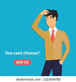Confused man scratching his head he does not know something or doubt. Flat vector illustration of young man needs professional help or support isolated on blue background. - Vector illustration