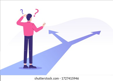 Confused man standing at crossroads. Difficult choice between two options. Decide dilemma. Solve problem. Alternatives or opportunities. Making decision concept. Choose pathway. Vector illustration