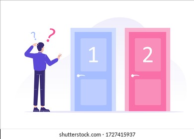 Confused man standing near two doors. Difficult choice between two options. Decide dilemma. Solve problem. Alternatives or opportunities. Making decision concept. Choose pathway. Vector illustration