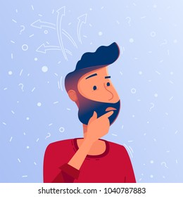A confused man thinks, trying to find a sulution. Thinking about question or solution concept. Confusing situation vector illustration cartoon. Square layout for web design, print or infographic