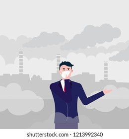 Confused man wearing mask against smog. Fine dust, air pollution, industrial smog protection concept flat style design vector illustration. Industrial plant pipes with huge clouds of smoke behind.