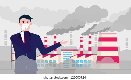 Confused man wearing mask against smog. Fine dust, air pollution, industrial smog protection concept flat style design vector illustration. Industrial factory pipes with huge clouds of smoke behind.