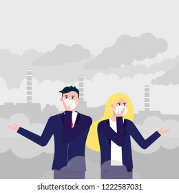 Confused man,woman in masks against smog. Fine dust, air pollution, industrial smog protection concept flat style design vector illustration. Industrial plant pipes with huge clouds of smoke behind.