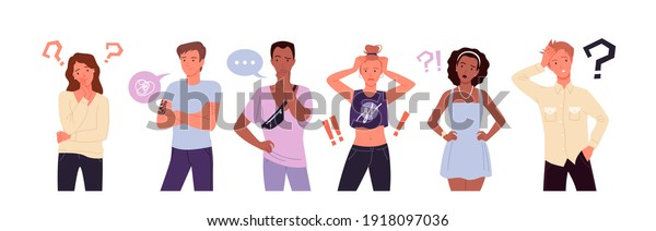 Confused people think in doubt vector illustration set. Cartoon young doubting characters with worry thinking sad faces showing gestures of stress and problems, dilemma question isolated on white