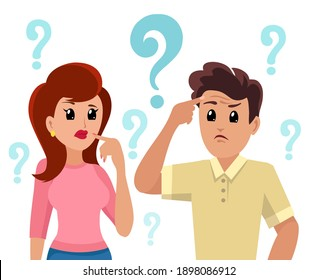 Confused people. Worried man and woman thinking, worriness image, cartoon couple doubt with choice questions marks vector illustration
