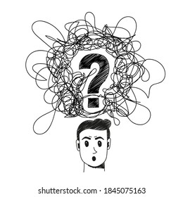 Confused person handdrawn illustration. Cartoon vector clip art of a portrait of a surprised man with confused thoughts and a question in his head. Black and white sketch of misunderstanding concept