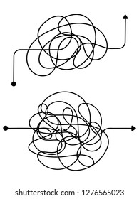 Confused process, chaos line symbol. Tangled scribble idea vector concept