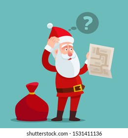 Confused Santa Claus holding paper map, thinking bubble with question mark over head. Santa get lost and need help. Vector illustration, flat design cartoon style. Isolated background.