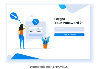 confused woman forgetting her password illustration for web page. This design can be used for websites, landing pages, UI, mobile applications, posters, banners