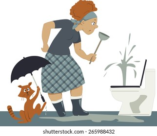 Confused woman in rubber boots with a plunger standing over a plugged toilet, in a puddle, a cat holding an umbrella