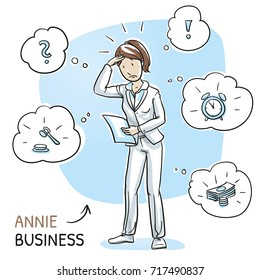 Confused young woman in business clothes holding a letter or document, looking concerned. Hand drawn cartoon sketch vector illustration, whiteboard marker style coloring.