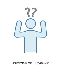 Confusion color icon. Making decisions. Indecision. A lot of questions. Indecisive person. Perplexity. Emotional stress symptom. Isolated vector illustration