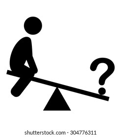 Confusion Man on Swing People with Question Mark Flat Icons Pictogram Isolated on White Background