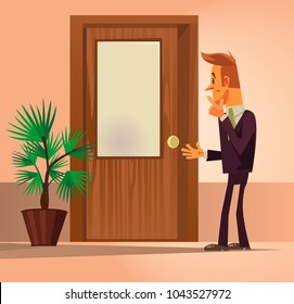 Confusion office worker man character standing near closed door and thinking. Vector flat cartoon illustration