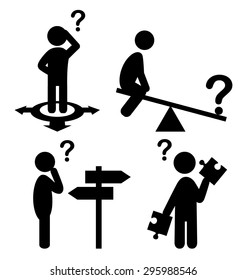 Confusion People with Question Marks Flat Icons Pictogram Isolated on White Background