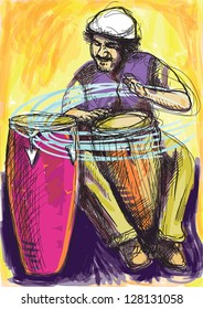 Conga player. Colored drummer in expressive outlines with colored background. /// Vector description: contours in shades of gray and black, editable in 9 layers.