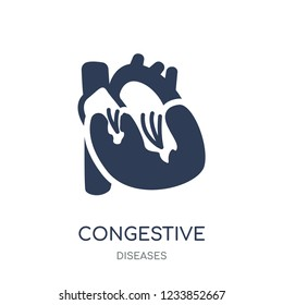 Congestive heart disease icon. Congestive heart disease filled symbol design from Diseases collection. Simple element vector illustration on white background