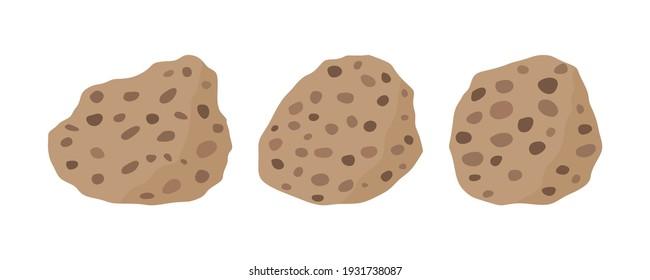 Conglomerate rock specimen illustration set. Sedimentary rock .