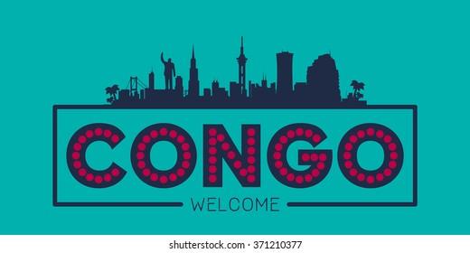 Congo city skyline typographic illustration vector design