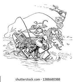 Congo Fishing Club Annual Excursion 2, this scene shows various animals like monkey, giraffe, elephant, lion on boat, boat sinking in the water, vintage line drawing or engraving illustration