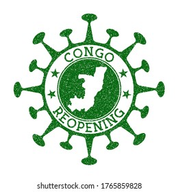 Congo Reopening Stamp. Green round badge of country with map of Congo. Country opening after lockdown. Vector illustration.
