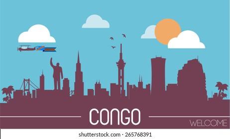 Congo skyline silhouette flat design vector illustration
