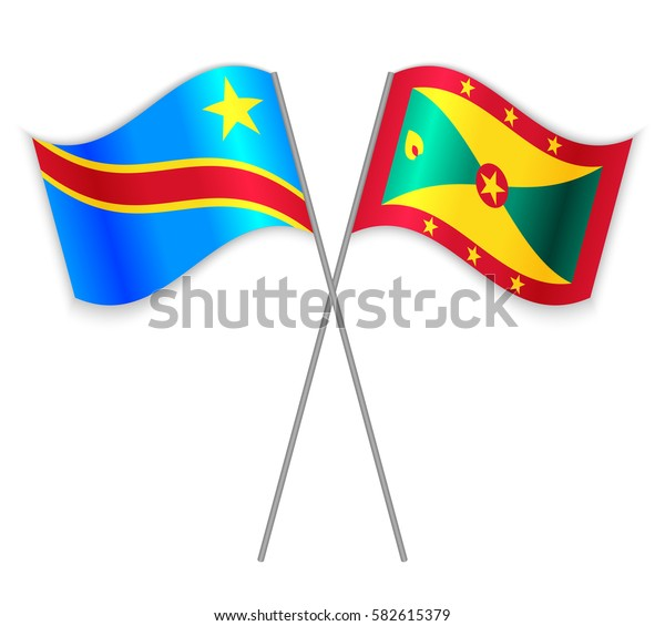 Congolese and Grenadian crossed flags. Democratic Republic of the Congo combined with Grenada isolated on white. Language learning, international business or travel concept.