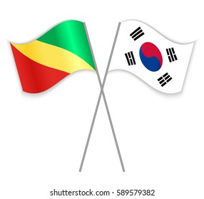 Congolese and South Korean crossed flags. Republic of the Congo combined with South Korea isolated on white. Language learning, international business or travel concept.