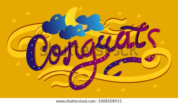 congrats, beautiful greeting card with arabian background style