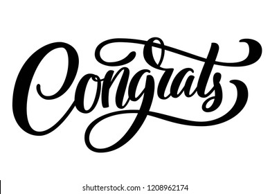 Congrats brush hand lettering, isolated on white background. Vector typography illustration.