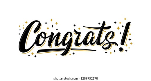 """Congrats!"" bulk lettering greeting sign. Handwritten modern brush lettering with golden stars. Text for postcard, T-shirt print design, banner, poster, web, notebook, sketchbook. Isolated vector"