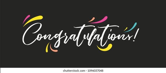 Congrats, Congratulations banner. Handwritten modern brush lettering dark background isolated vector illustration