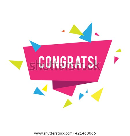 Congratulations Banner With Triangles Win Birthday Party Sale Holiday