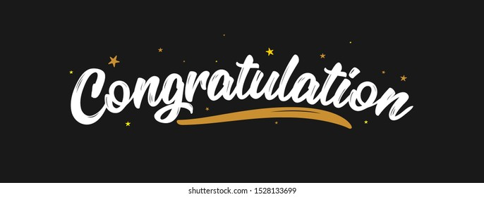 Congrats, Congratulations calligraphy text with glitter decoration, Hand written Congratulations brush lettering. Vector Illustration for greeting. Vector Lettering. Calligraphic banner
