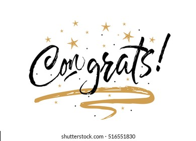 Congratulations images stock photos vectors shutterstock congrats congratulations card beautiful greeting scratched calligraphy black text word gold stars hand m4hsunfo
