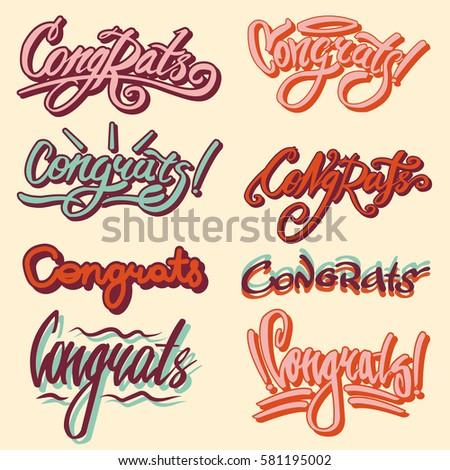 congrats drawn text templates congratulation vector stock vector