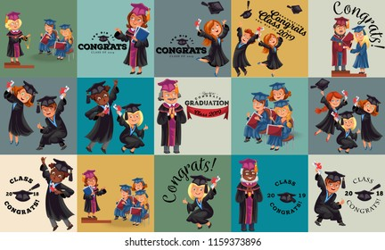 Congrats flat set. College composition consist of graduation class of 2019 students throwing caps girls and boys in gowns with diplomas graduates party vector illustration.