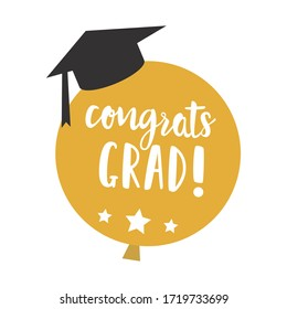 Congrats Grad Balloon with Graduation Cap