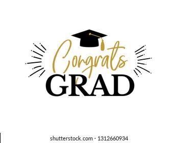 Congrats Graduates, class of 2019. Gold and black cap icon and lettering for graduation party. Vector design logo for congratulation ceremony, invitation card, banner. University, school grads symbol.