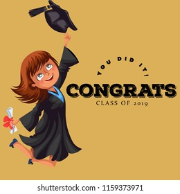 Congrats graduation class of 2018 flat colorful poster. Happy girl alumnus holding diploma in hands and jumping for joy vector illustration