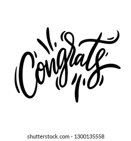 Congrats hand drawn vector lettering. Modern brush calligraphy. Motivation phrase. Congratulations Vector illustration. Isolated on white background.