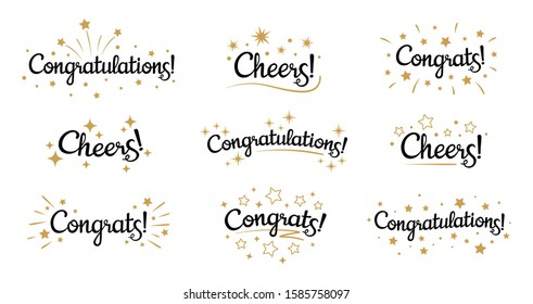 Congrats lettering. Congratulation text labels, cheers sign decorated with golden burst and stars and congratulations. Congratulate letter hand writing ink logo. Isolated vector signs set