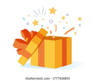 Congrats poster with open gift box, ribbons and confetti isolated on white background. Surprise carton for event celebration, design for greeting birthday card, giveaway vector illustration. Prize box