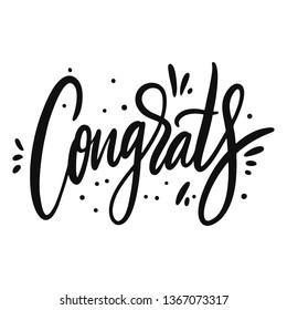Congrats sign. Hand drawn vector lettering. Isolated on white background. Design for poster, greeting card, photo album, banner. Vector illustration